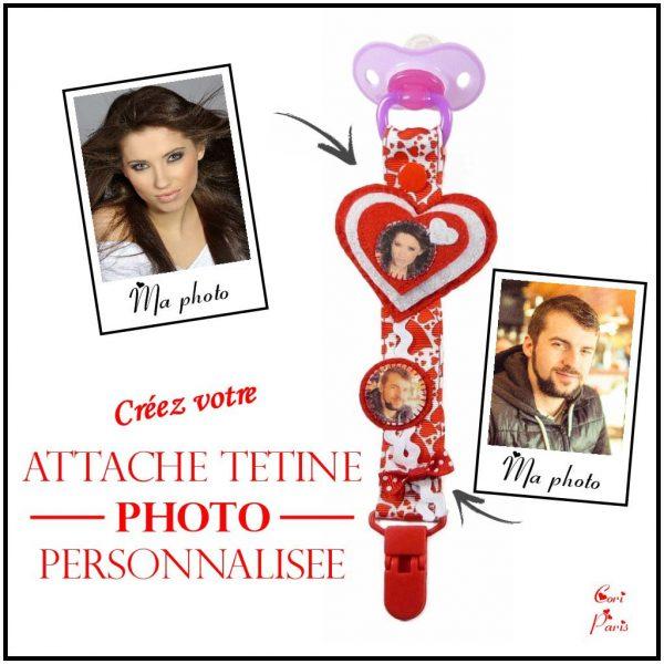 Attache tétine personnalisée avec photos, idéal comme cadeau pour bébé et future maman de Cori Paris