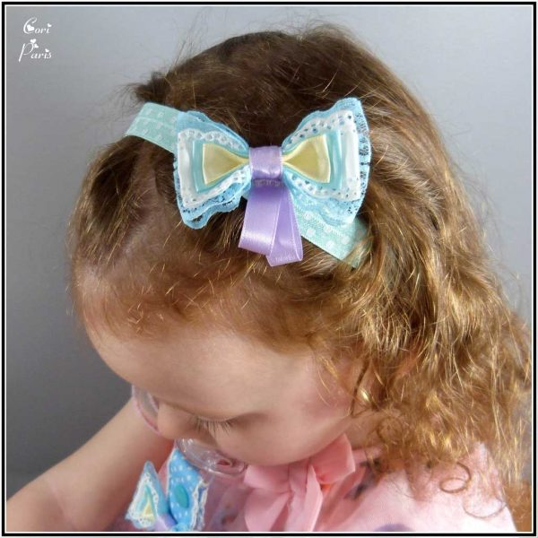 Baby hair accessory, blue ribbon bow headband