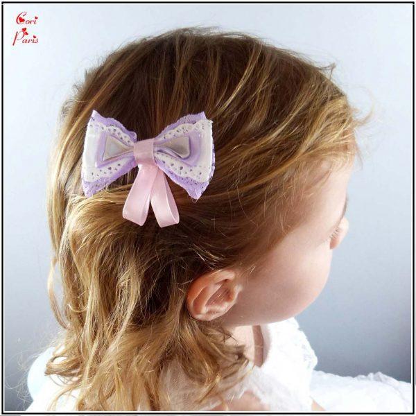 Barrette bébé avec noeud mauve, accessoire cheveux enfant de Cori Paris