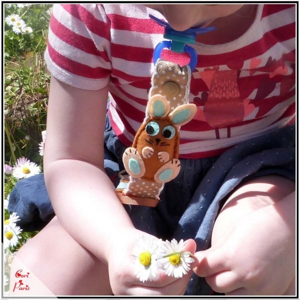 Easter gift for baby - a cute Easter bunny on a baby boy pacifier clip