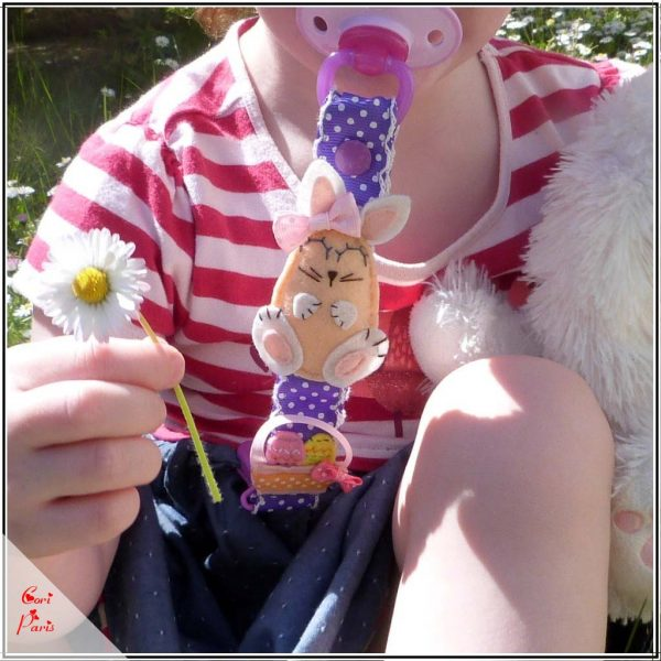 Paci clip with an Easter Bunny girl, handmade baby gift
