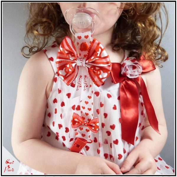 Valentines gift for baby - baby pacifier clip with a bow and hearts from Cori Paris
