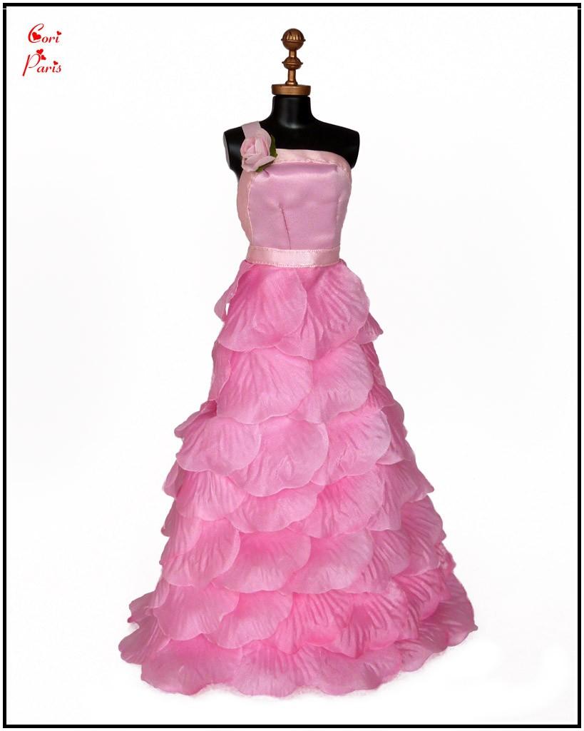 cori paris handmade barbie dress pink silk rose petals evening dress