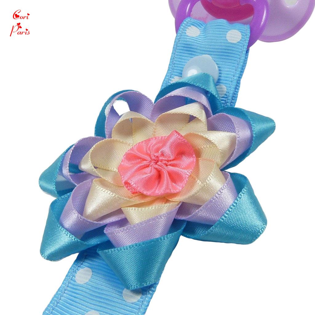 cori paris attache t tine b b fait main mod le grosse fleur bleue. Black Bedroom Furniture Sets. Home Design Ideas