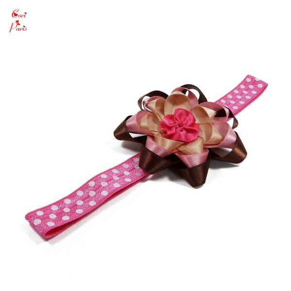 Flower headband for a baby girl with a large fuchsia ribbon flower