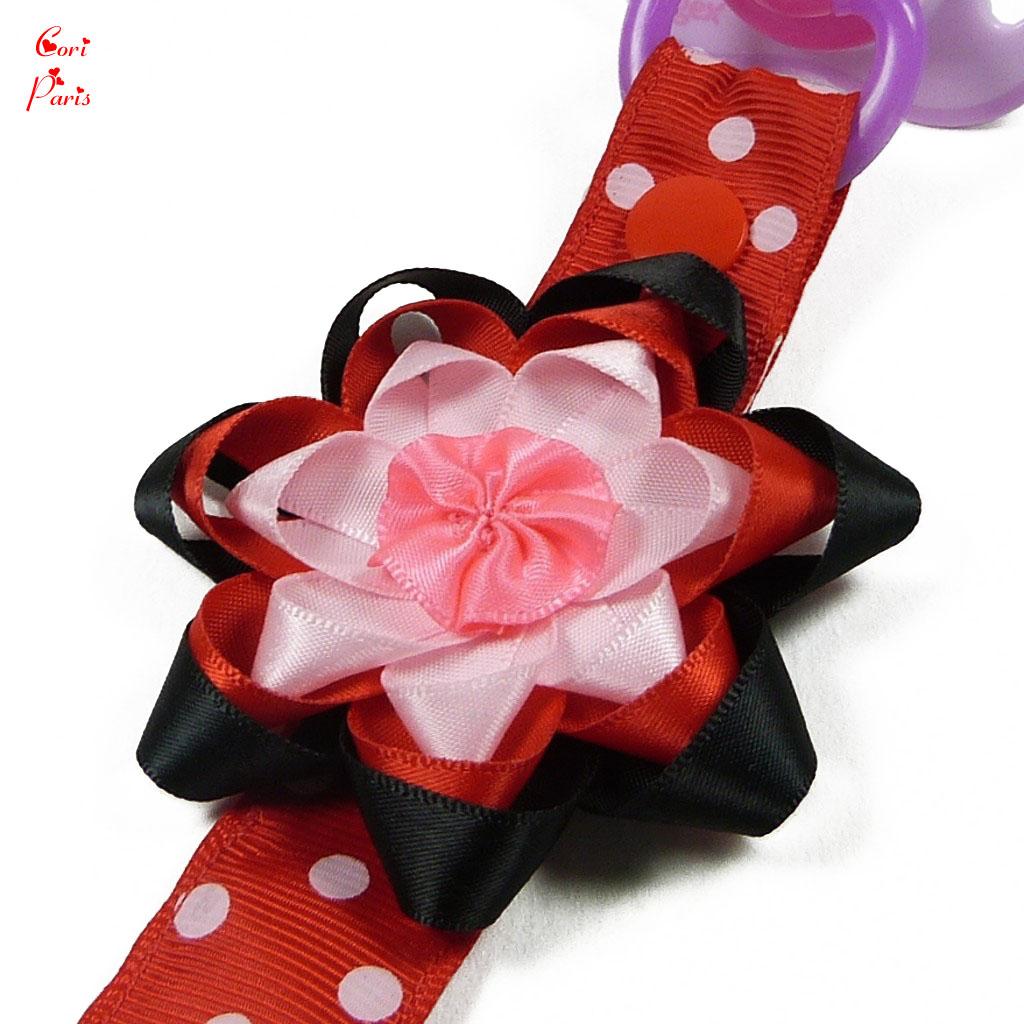 cori paris attache t tine b b fait main mod le grosse fleur rouge. Black Bedroom Furniture Sets. Home Design Ideas