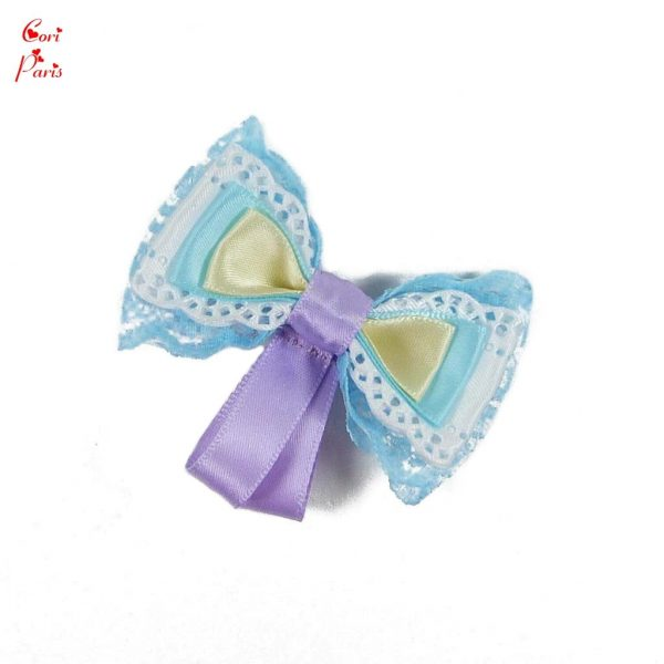 Hair bow for girl in blue color, a cute hair clip for a toddler