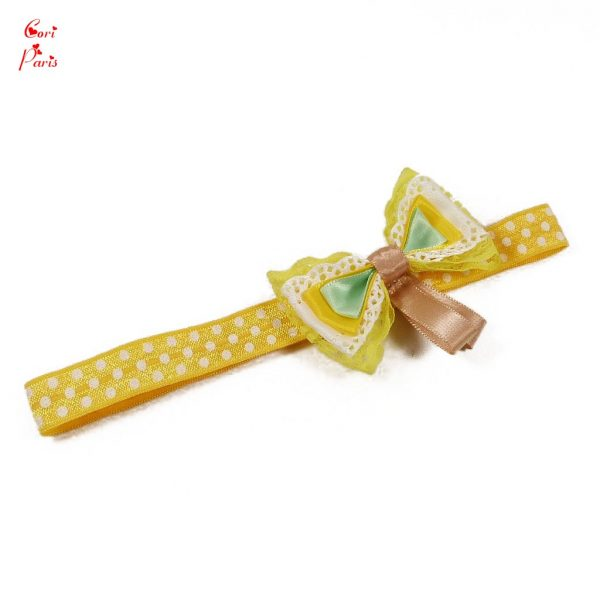 Baby bow headband in yellow color with four bows