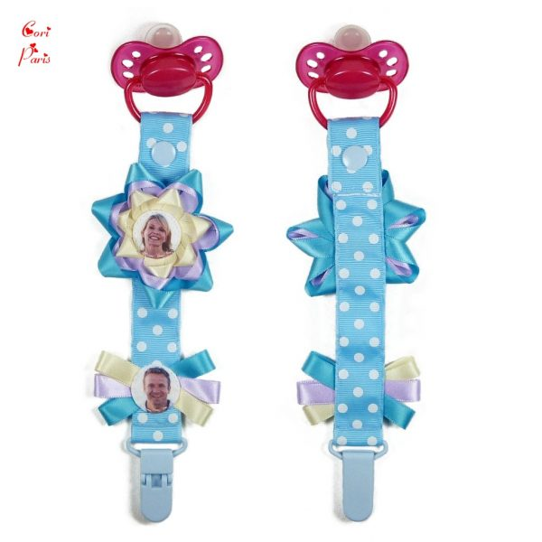 Personalized gift for baby - custom pacifier clip with photos and a large blue flower