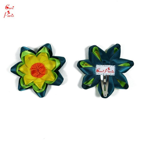 Hair barrettes for toddlers with large yellow and green flowers, for cute toddler hairstyles
