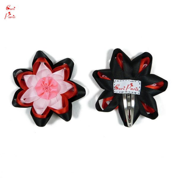 Flower barrette - a red toddler or baby hair barrette with a large ribbon flower