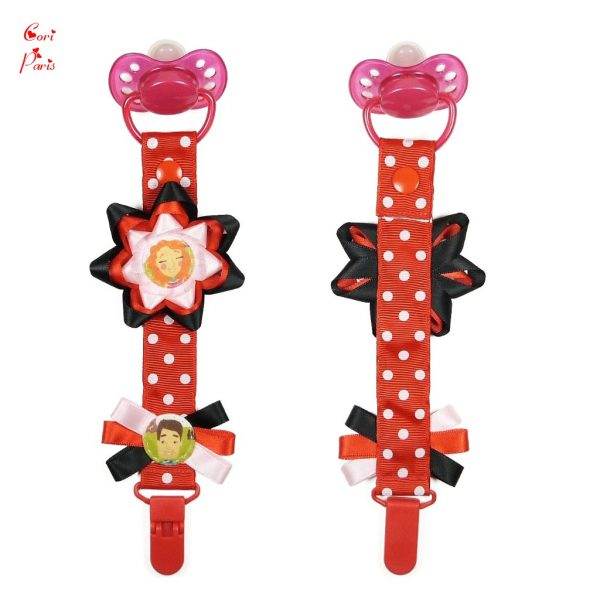 Personalized gift for a baby girl, pacifier clip with a big red flower