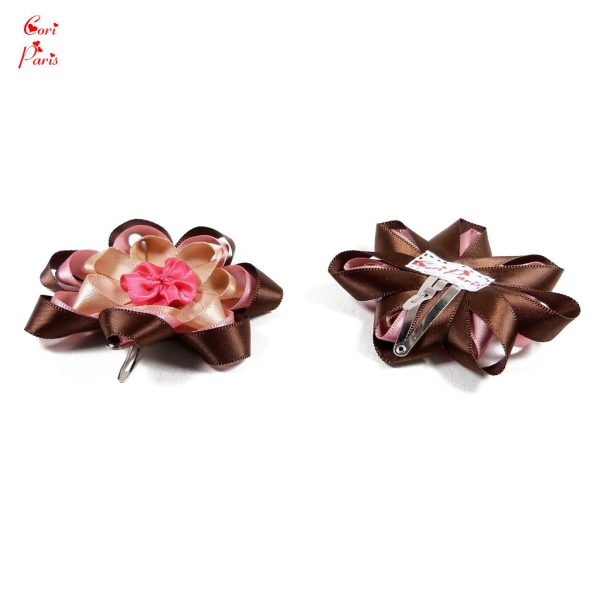 Baby hair barrette for girls with a pink and brown ribbon flower
