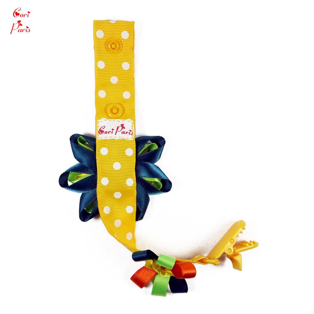 cori paris attache t tine b b fait main mod le grosse fleur jaune. Black Bedroom Furniture Sets. Home Design Ideas