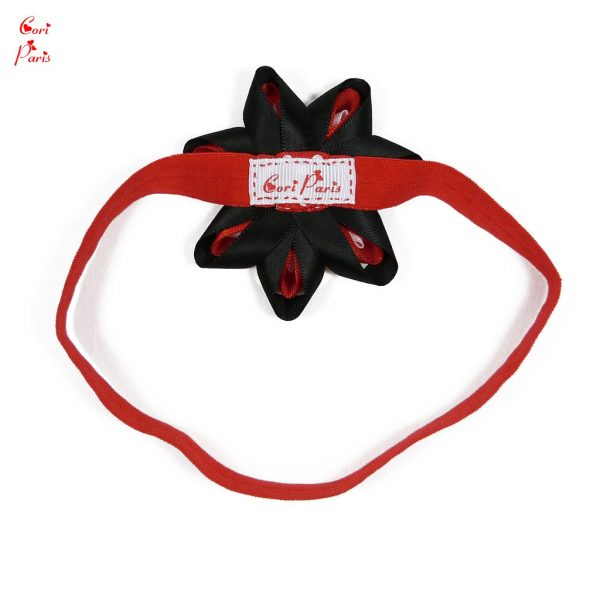 Baby headband flower, a soft and stretchy red baby headband with a ribbon flower