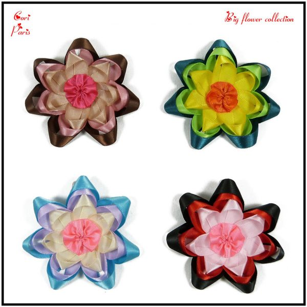 Baby barrette collection with big ribbon flowers in pink, yellow, blue or red