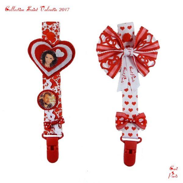 Collection d'attaches tetines Saint Valentin 2017. Accessoires pour bebes.