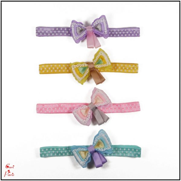Baby bow headbands collection in purple, yellow, pink and blue from Cori Paris