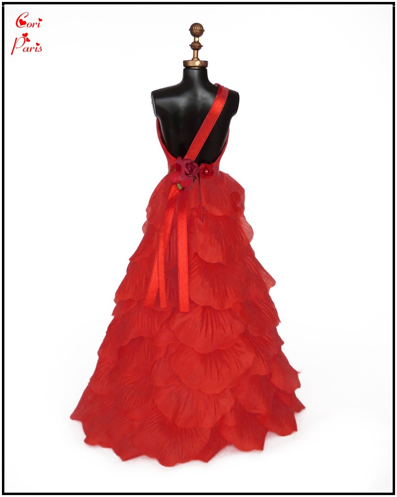 cori paris handmade barbie dress red silk rose petals evening dress