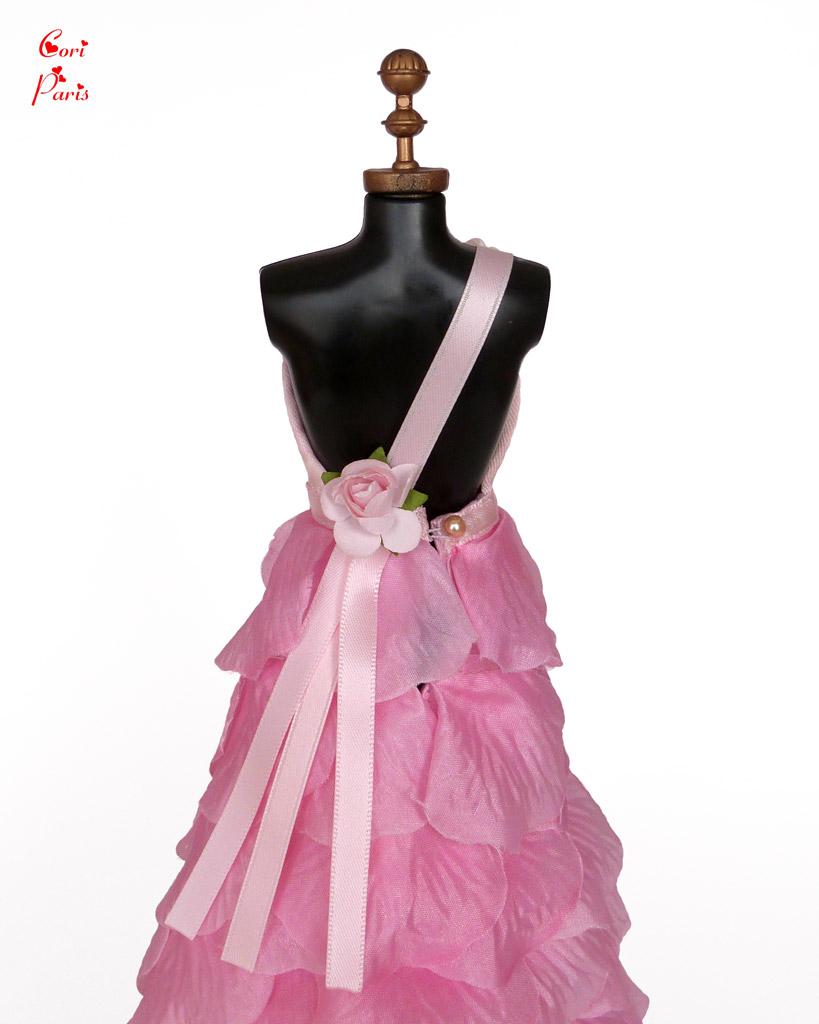 Cori Paris Handmade Pink Rose Petals Evening Barbie Dress