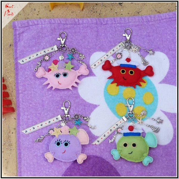 Summer bag charms collection from Cori Paris, with 2 cute crabs and 2 adorable fish !