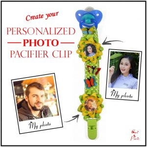 Baby boy dummy clip in green color personalized with two photos