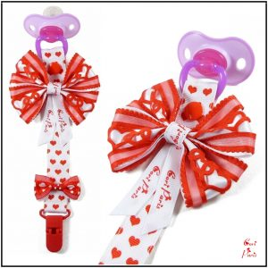 Baby girl dummy clip with a large bow, Valentines Day gift for baby