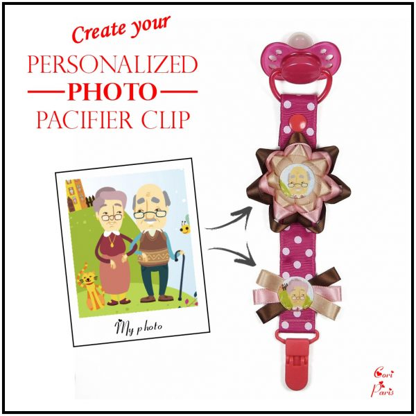 Personalized pacifier clip with large flower and 2 photos, a unique gift for new mom