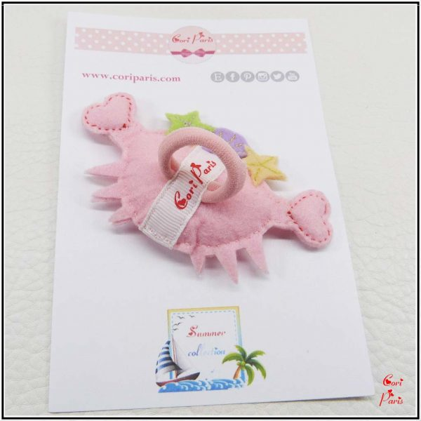 Baby girl hair accessories - smiley pink crab on baby hair tie or snap hair clip