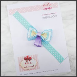 Baby hair accessory, blue ribbon bow headband