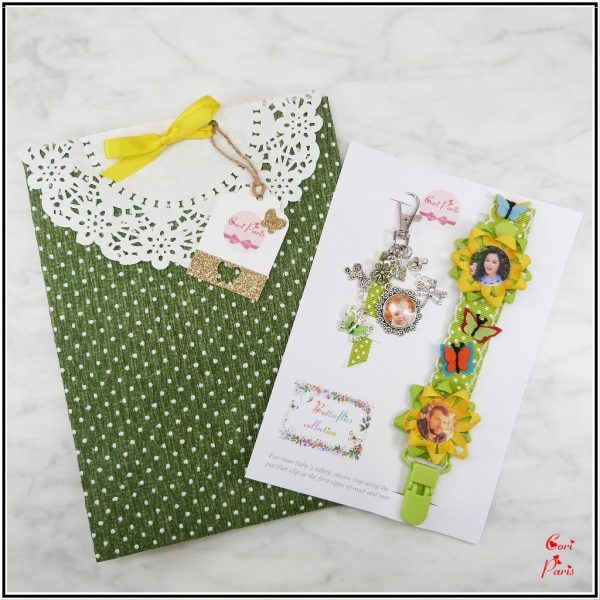 Baby shower gift for mom, green model with felt butterflies from CORI PARIS