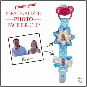 Binky clip with blue flower for babies, personalized with photos