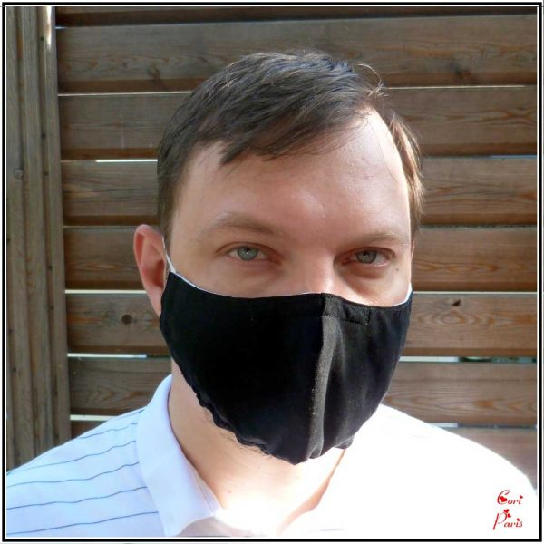 Black face mask with filter, adult unisex, washable and reusable fabric mask, snug fit