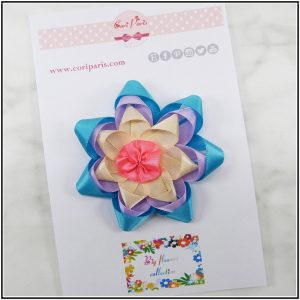 Blue hair clip with a large ribbon flower, girl hair accessory
