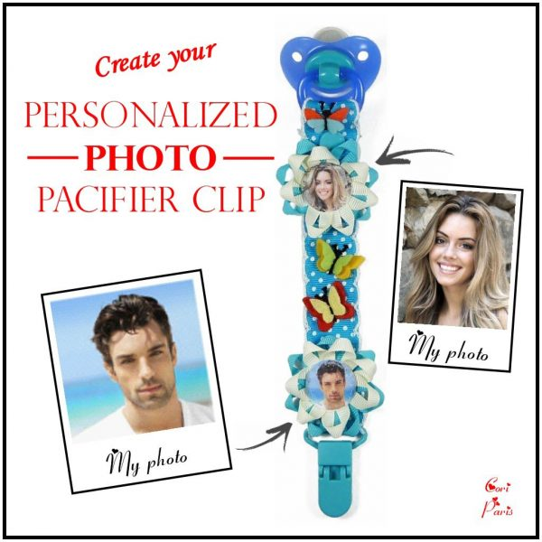 Blue boy binky clip customized with two pictures from Cori Paris