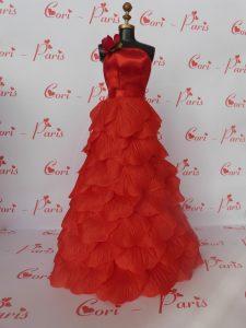 Cadenza red rose petals Barbie dress from Cori Paris