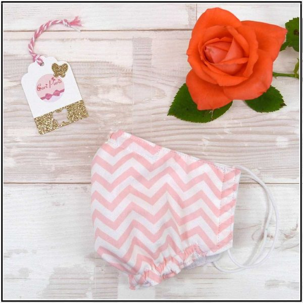 Cotton face mask for kids and adults with pink zigzag print, breathable triple layer protection mask