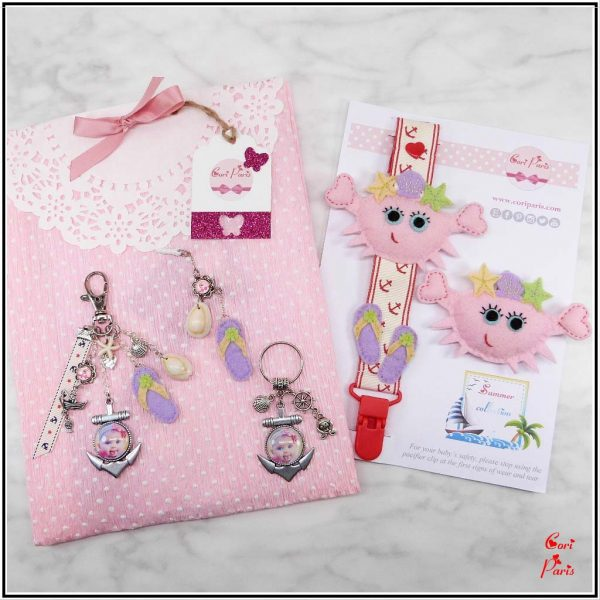 Customized baby gifts - pacifier clip, baby girl hair accessories, custom keychain and more