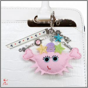 Cute handbag charm with a pink crab and sealife charms, a summer jewelry for women