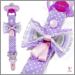 Handmade baby dummy clip with purple ribbon bows from Cori Paris