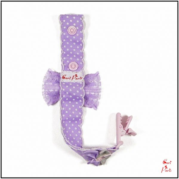 Gifts for moms to be - a handmade pacifier clip with purple ribbon bows.