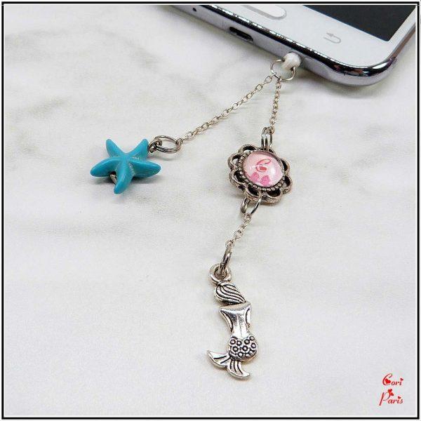 Earphone jack charm for 3.5mm jack, dust plug charm representing a blue starfish and a mermaid