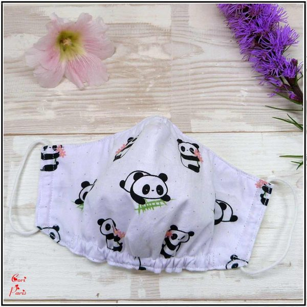 Face mask for kids and women with cute panda print, breathable and protective cotton face mask