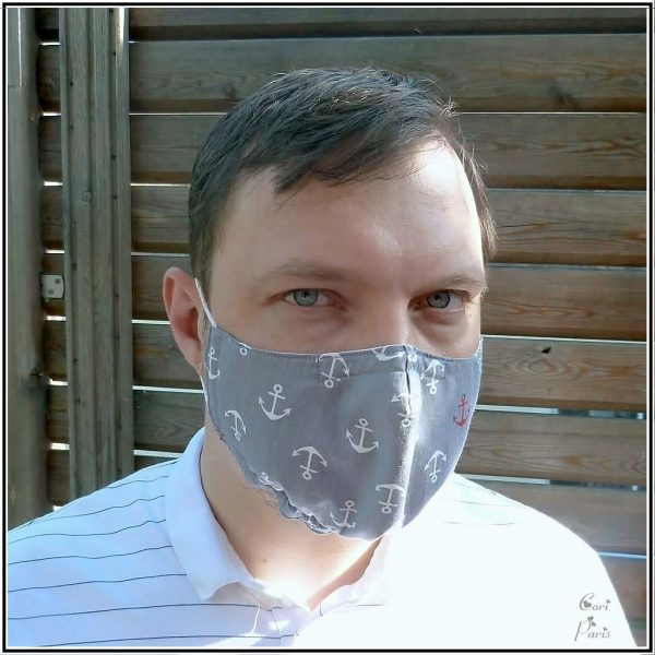 Face mask for men and kids with anchor print, filter, nose wire, adjustable elastic ear loops