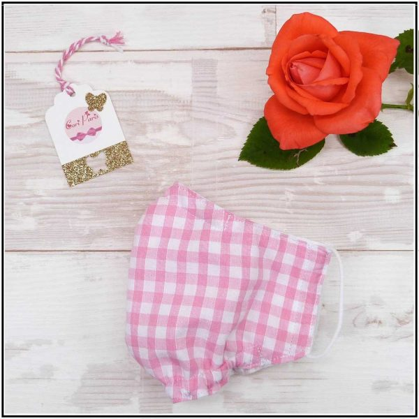 Face mask for women with pink gingham print, reusable and washable mask for kids and adults
