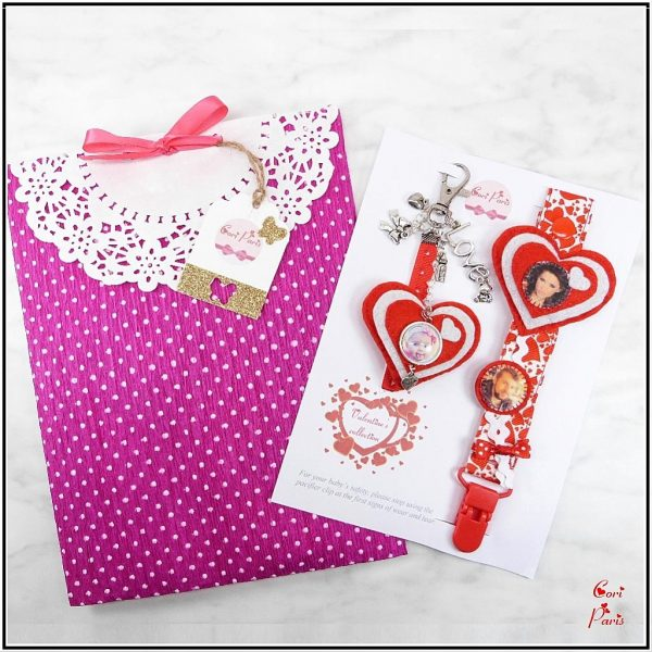 First Valentine's Day gift - matching pacifier clip and bag charm for baby and mommy
