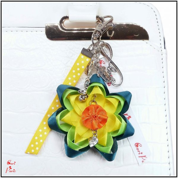 Handmade keychain with a yellow ribbon flower, the best gift for new mother