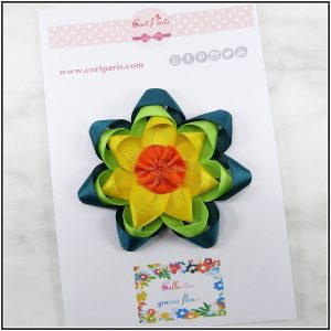 Flower hair bow in yellow, green and orange, cute baby snap clip