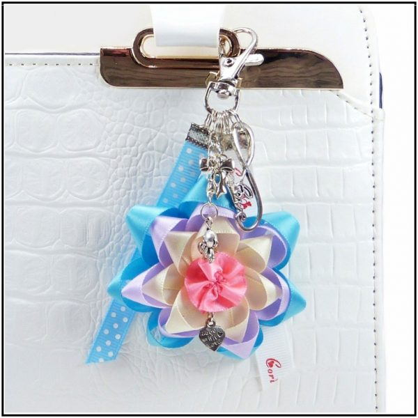 Flower keychain with cute bag charms, a nice gift idea for fashion moms