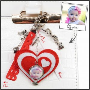 Heart bag charm to offer a new mom on Valentine's Day and personalized with a picture